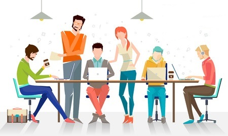 39496426 - concept of the coworking center. business meeting. shared working environment. people talking and working at the computers in the open space office. flat design style.